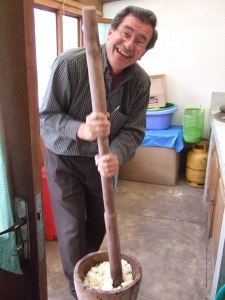 Mashing the yukka...