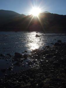 Beautiful sunrise as we crossed the river